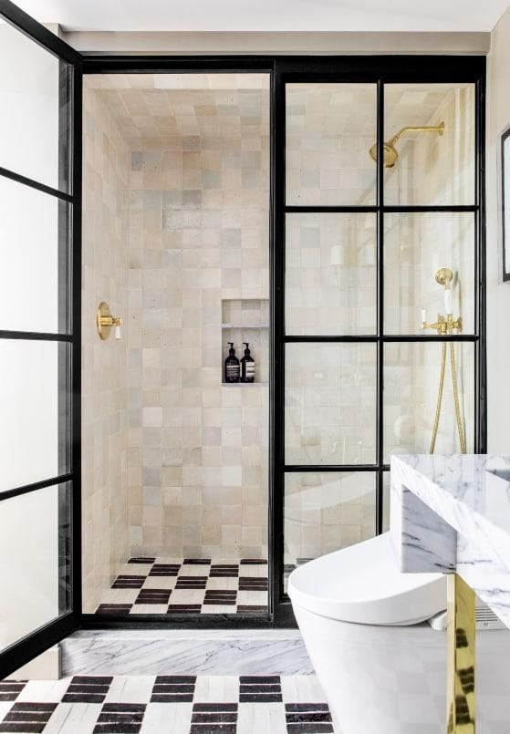 Black and white checker board tile in Modern LA home